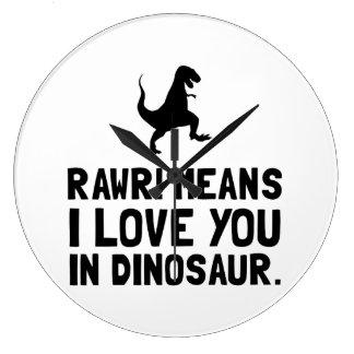 Dinosaurio del amor de Rawr Reloj Redondo Grande