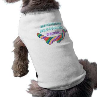 ¡Dinosaurio del arco iris! Camisa del mascota Playera Sin Mangas Para Perro