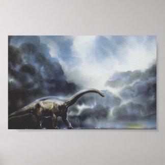 Dinosaurio del Barapasaurus del vintage con las Póster