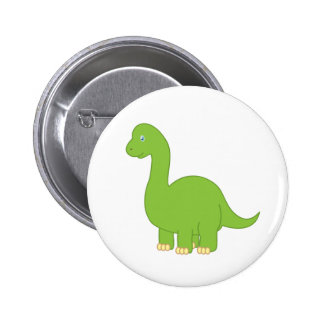 Dinosaurio del Brontosaurus del dibujo animado Pin Redondo De 2 Pulgadas