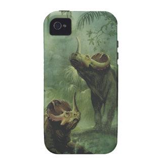 Dinosaurio del Centrosaurus del vintage en la selv iPhone 4 Funda