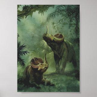 Dinosaurio del Centrosaurus del vintage en la selv Impresiones