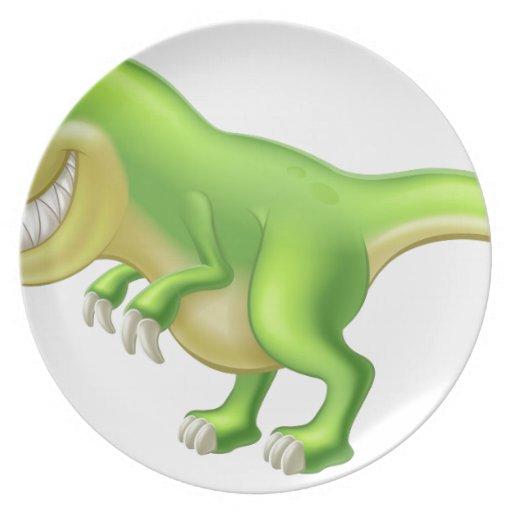 Dinosaurio del dibujo animado de T Rex Plato