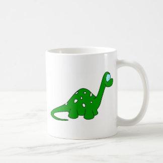 Dinosaurio del dibujo animado taza básica blanca