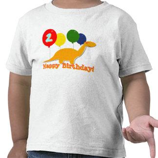 Dinosaurio del feliz cumpleaños 2 años de camiseta