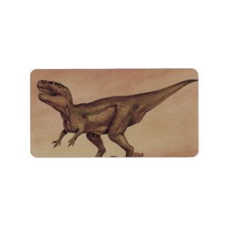 Dinosaurio del Giganotosaurus del vintage, Etiqueta De Dirección