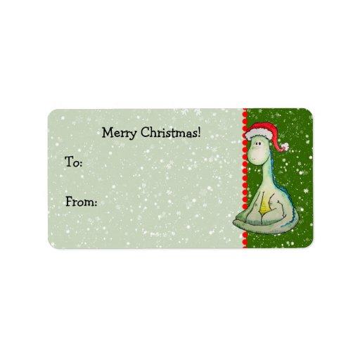 Dinosaurio del navidad etiqueta de dirección