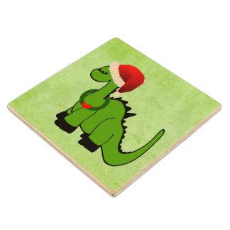Dinosaurio del navidad posavasos de madera