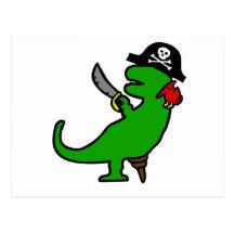 Dinosaurio del pirata tarjeta postal