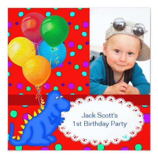 """Dinosaurio del primer cumpleaños del bebé 1r invitación 5.25"""" x 5.25"""""""