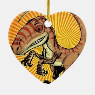 Dinosaurio del rapaz del Velociraptor de Marco D Adorno Navideño De Cerámica En Forma De Corazón