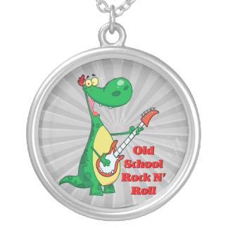 dinosaurio del rollo de la roca n de la escuela colgante redondo