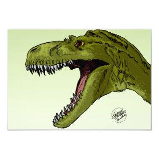 """Dinosaurio del rugido T-Rex de Geraldo Borges Invitación 3.5"""" X 5"""""""