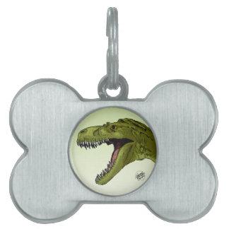 Dinosaurio del rugido T-Rex de Geraldo Borges Placas De Nombre De Mascota