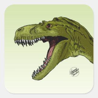 Dinosaurio del rugido T-Rex de Geraldo Borges Calcomanías Cuadradas Personalizadas