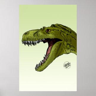 Dinosaurio del rugido T-Rex de Geraldo Borges Póster