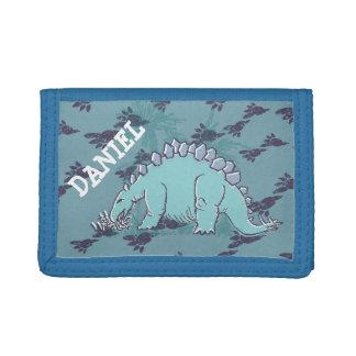 Dinosaurio del Stegosaurus su cartera azul conocid