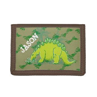 Dinosaurio del Stegosaurus su cartera verde conoci