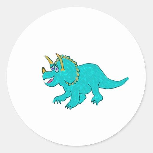 Dinosaurio del Triceratops del dibujo animado en Pegatina Redonda