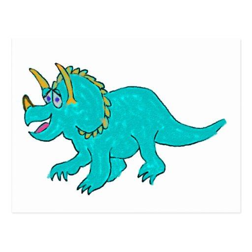 Dinosaurio del Triceratops del dibujo animado en Postal
