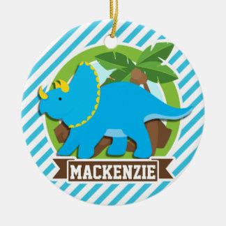 Dinosaurio del Triceratops; Rayas del azul y del Adorno Navideño Redondo De Cerámica