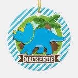 Dinosaurio del Triceratops; Rayas del azul y del Adorno De Navidad
