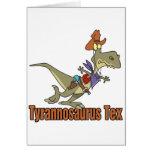dinosaurio del vaquero del tex del rex del tarjeta de felicitación