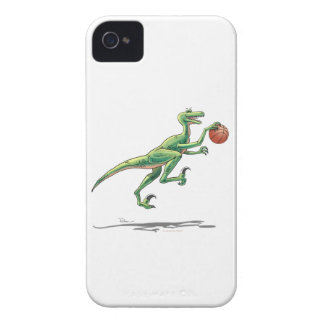 dinosaurio del velociraptor con baloncesto iPhone 4 carcasa