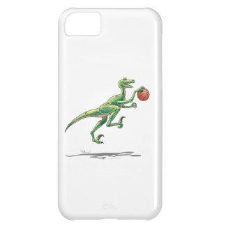 Dinosaurio del Velociraptor con un baloncesto