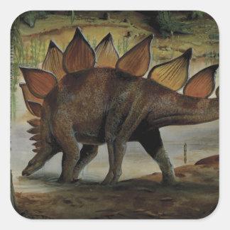 Dinosaurio del vintage, Stegosaurus, cola con los Pegatinas Cuadradas