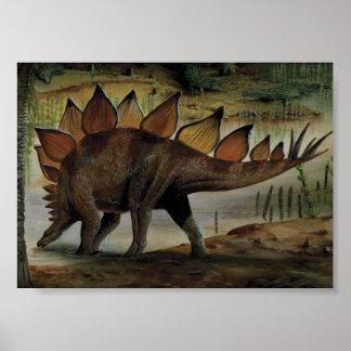 Dinosaurio del vintage, Stegosaurus, cola con los Póster