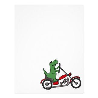 Dinosaurio divertido de T-rex en la motocicleta Plantilla De Membrete