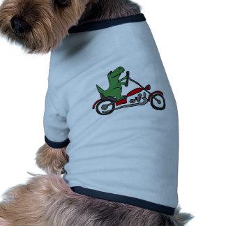 Dinosaurio divertido de T-rex en la motocicleta Camiseta Con Mangas Para Perro