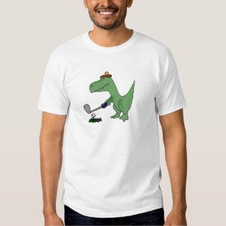 Dinosaurio divertido de T-Rex que juega a golf Playeras