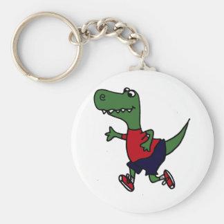 Dinosaurio divertido de Trex que activa Llavero Redondo Tipo Pin