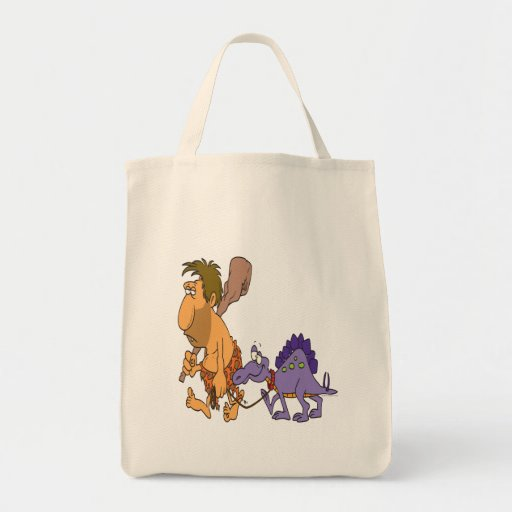 dinosaurio divertido del hombre de las cavernas y  bolsas