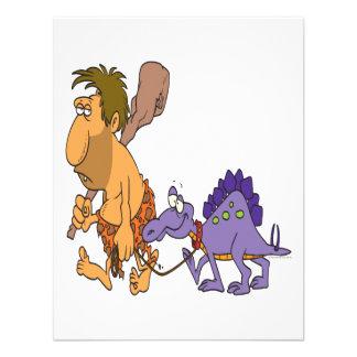 dinosaurio divertido del hombre de las cavernas y invitacion personal