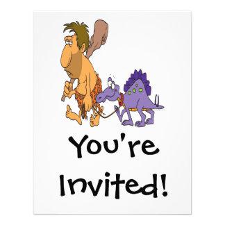 dinosaurio divertido del hombre de las cavernas y invitación