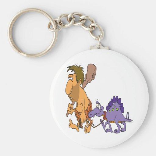dinosaurio divertido del hombre de las cavernas y  llavero redondo tipo pin