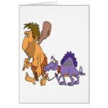 dinosaurio divertido del hombre de las cavernas y  tarjeta