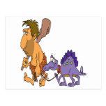 dinosaurio divertido del hombre de las cavernas y  tarjetas postales