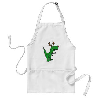 Dinosaurio divertido del navidad como reno delantal