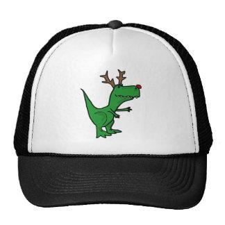 Dinosaurio divertido del navidad como reno gorro