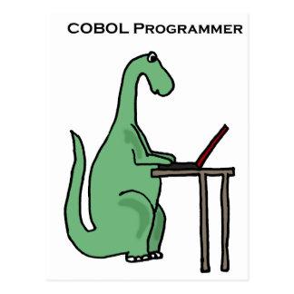 Dinosaurio divertido del programador de COBOL Postales