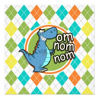 Dinosaurio divertido en el modelo colorido de comunicado