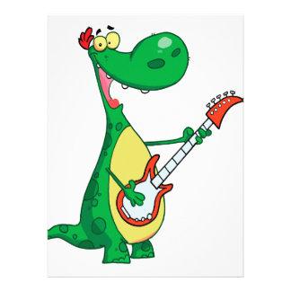 dinosaurio divertido que toca la guitarra invitacion personal