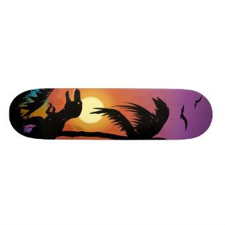 Dinosaurio en el amanecer patines