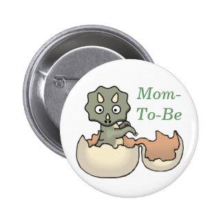 Dinosaurio en un botón del Pin de la mamá de la fi