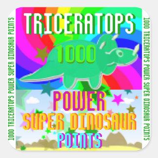 Dinosaurio estupendo del poder del Triceratops Pegatina Cuadrada