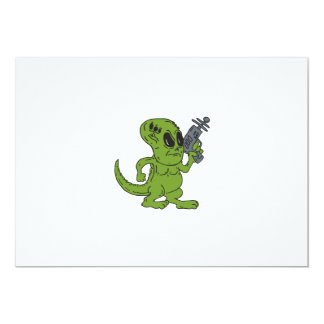 Dinosaurio extranjero que lleva a cabo el dibujo invitacion personalizada